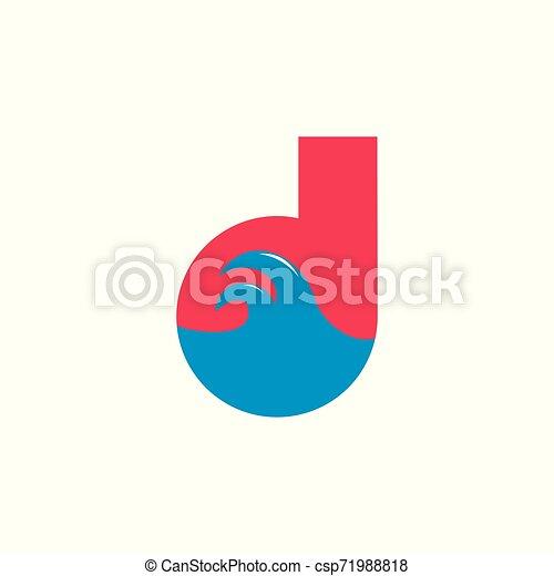 átmérő, vektor, levél, lenget, jel, tenger - csp71988818