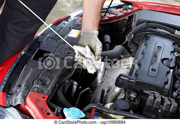 átvizsgálás, autó, oil., szerelő - csp10989884