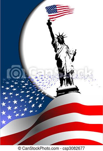 """4 de julio: """"Día de independencia de los Estados Unidos de América"""". bandera americana con imagen de águila. Vector - csp3082677"""