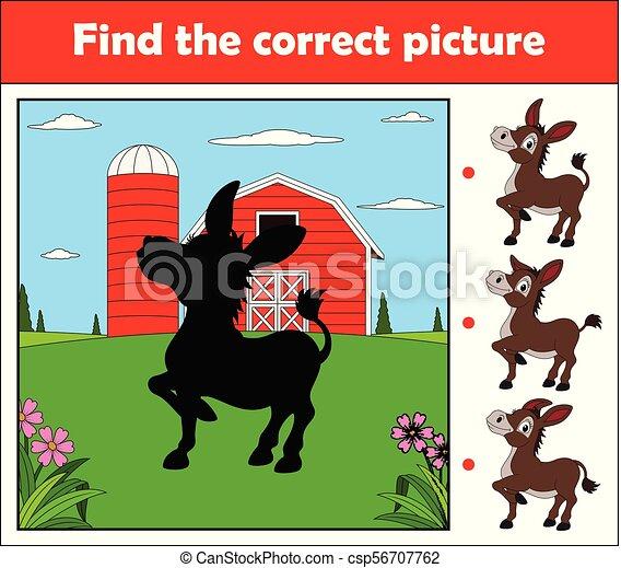 âne, ferme, trouver, jeu, image, children., education, correct, heureux - csp56707762
