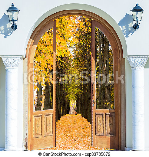 äng, lysande, synhåll, upplyst, dörr, solsken, öppna - csp33785672