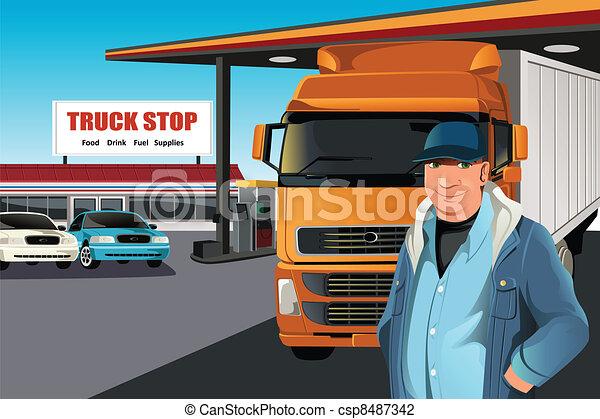åka lastbil chauffören - csp8487342