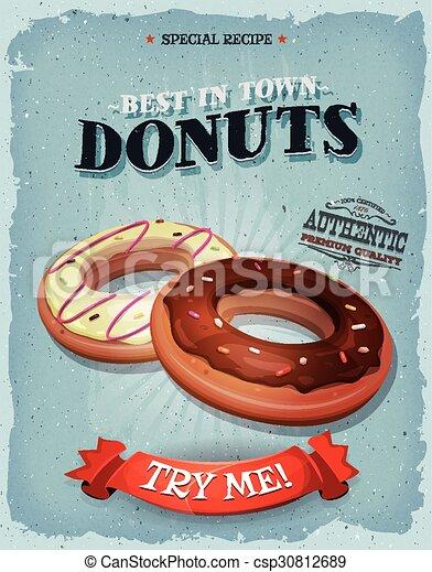 årgång, amerikan, grunge, donuts, affisch - csp30812689
