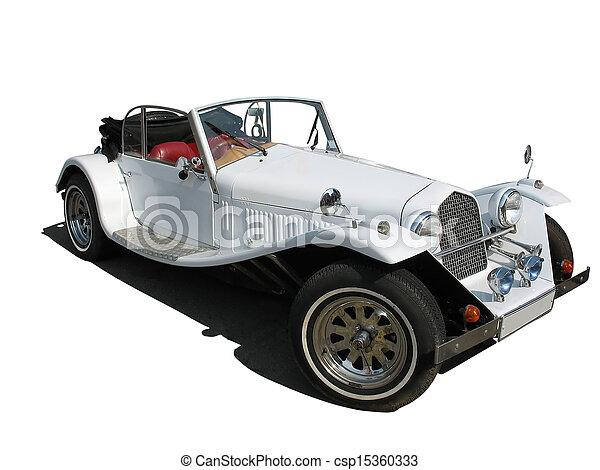 årgång bil, isolerat, retro, bröllop, vit, dröm, lyxvara - csp15360333