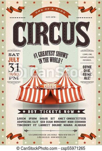 årgång, cirkus, grunge, affisch - csp55971265