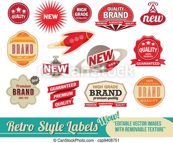årgång, etiketter, retro, märken - csp9408751