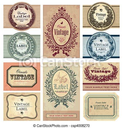 årgång, etiketter, sätta, (vector) - csp4008270