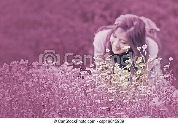 årgång, flowers., kamomill, style. - csp19845939