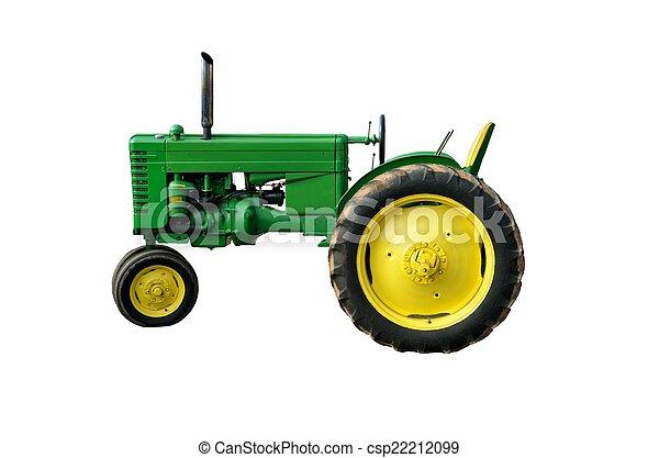 årgång, grön, traktor - csp22212099
