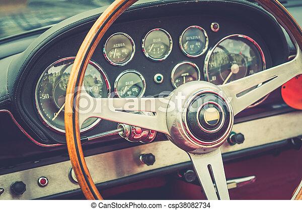 årgång, insida, lyx bil - csp38082734