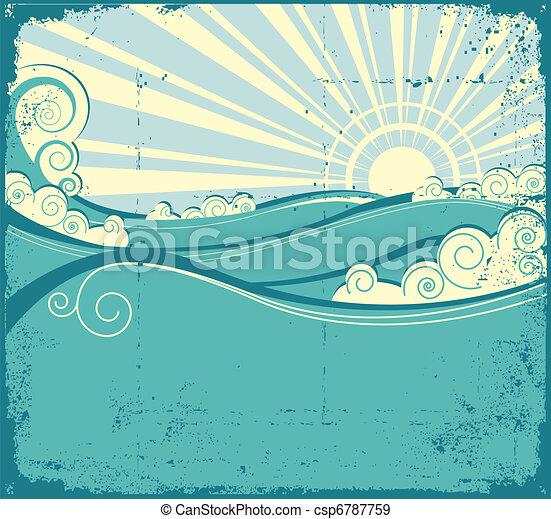 årgång, landskap, hav, waves., illustration - csp6787759