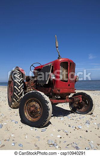 årgång, litet, strand, röd traktor - csp10940291