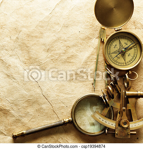 årgång, papper, kompass - csp19394874