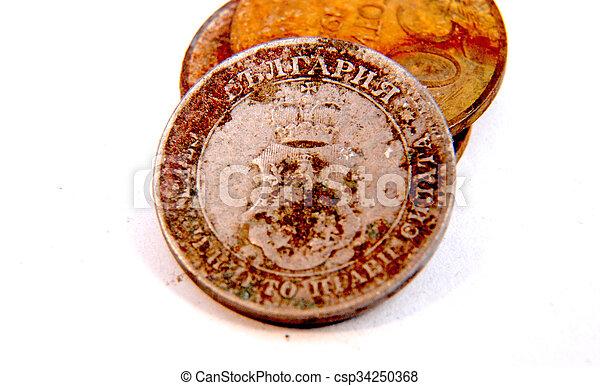 årgång, rostig, mynt, gammal - csp34250368