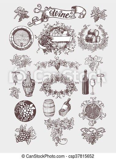 årgång, set., winemaking, vin - csp37815652