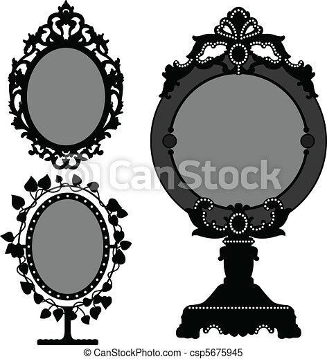 årgång, spegel, gammal, prinsessa, utsirad - csp5675945