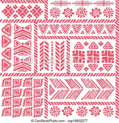 årgång, stam, etnisk, seamless, mönster - csp16802277