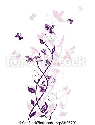 årgång, träd, violett - csp23496709