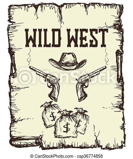 årgång, västra, affisch - csp36774858