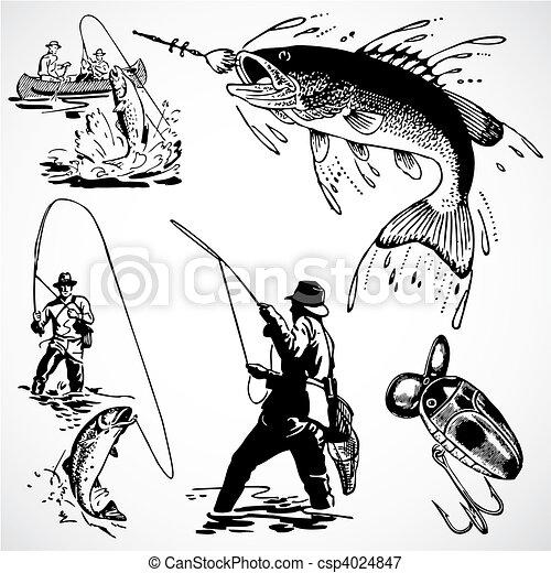 årgång, vektor, fiske, grafik - csp4024847
