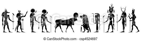 ægyptisk gudinde, guder, skabningerne - csp4524697
