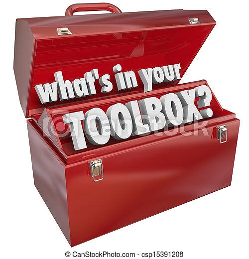 æske, færdigheder, hvad er, metal, erfaring, din, toolbox, værktøj, rød - csp15391208