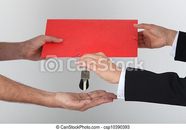 échanger, clés, signé, contrat - csp10390393
