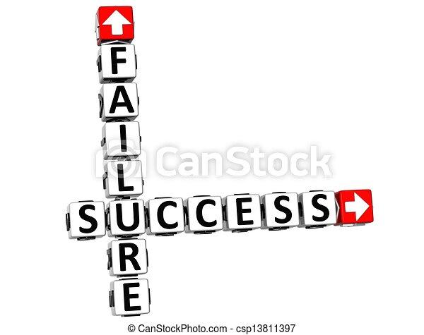 échec, 3d, reussite, mots croisés - csp13811397