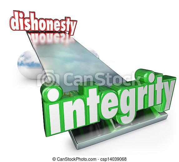 échelle, malhonnêteté, vs, mots, contraires, équilibre, intégrité - csp14039068