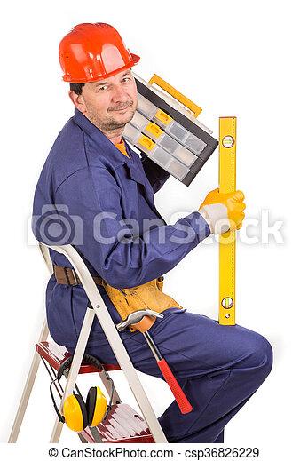 échelle, ouvrier, hammer. - csp36826229