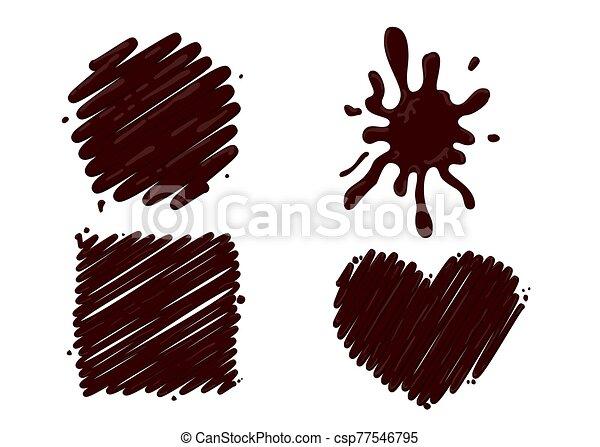 éclaboussure, chaud, blanc, ensemble, chocolat, isolé - csp77546795