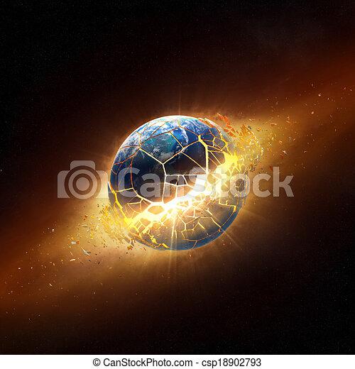 éclater, la terre, planète, espace - csp18902793