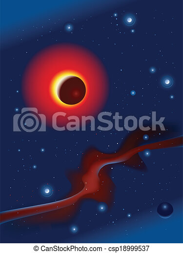 éclipse, profond, espace - csp18999537