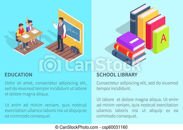 école, étudiants, livre bibliothèque, affiches, education - csp60031160