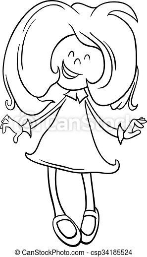 école Coloration âge Blanc Illustration Dessin Animé Livre Fille Noire Ou Préscolaire Heureux