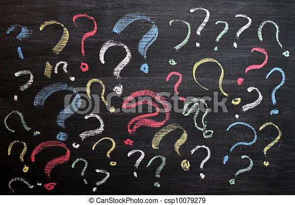 école, décision, confusion, concept., faq, question, main, craie, chalkboard., autre, noir, marques, board., écriture, ou - csp10079279