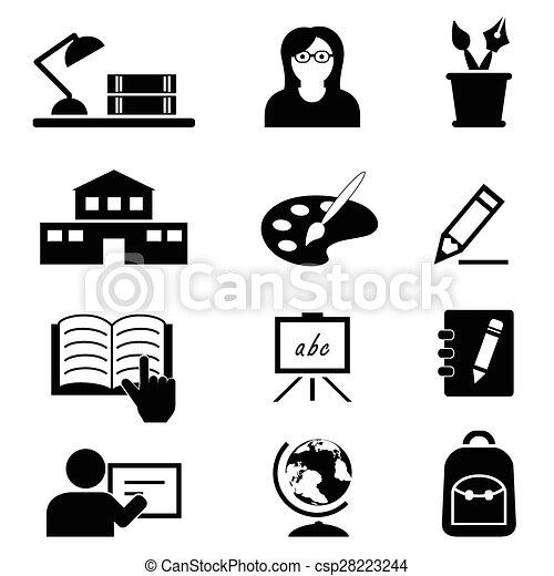 école, education, collège, icônes - csp28223244
