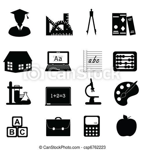 école, education, ensemble, icône - csp6762223
