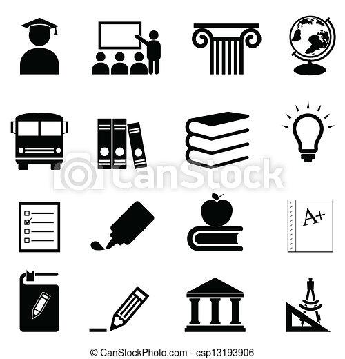école, education, icônes - csp13193906