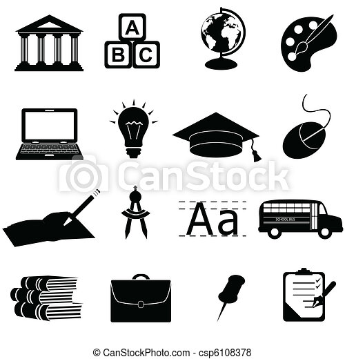 école, education, icônes - csp6108378