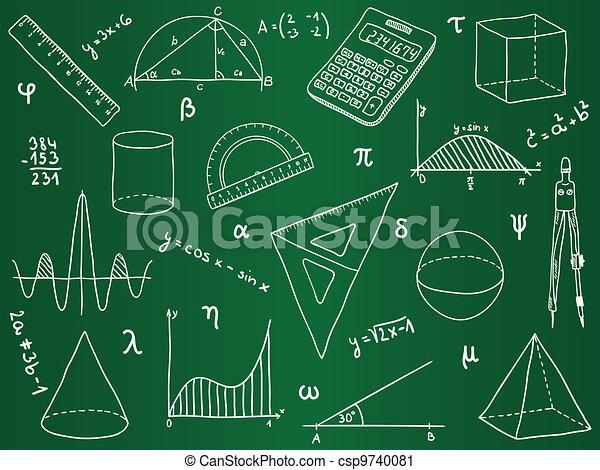 école, -, formes, fournitures, mathématiques, géométrique, expressions - csp9740081