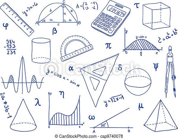 école, -, formes, fournitures, mathématiques, géométrique, expressions - csp9740078