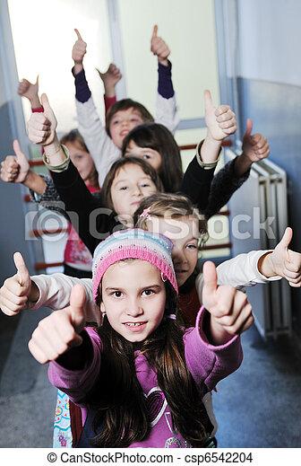 école, groupe, enfants, heureux - csp6542204