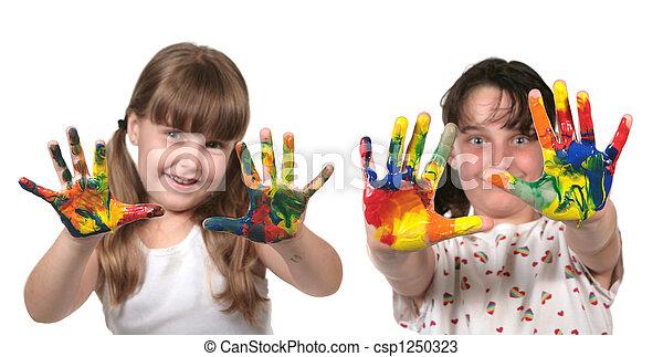 école, heureux, peinture, enfants, mains - csp1250323
