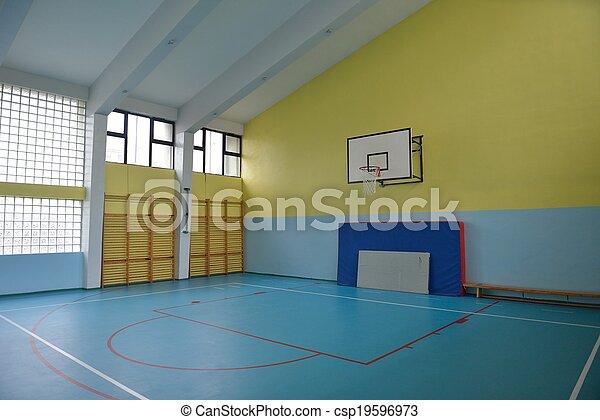 école, intérieur, gymnase - csp19596973