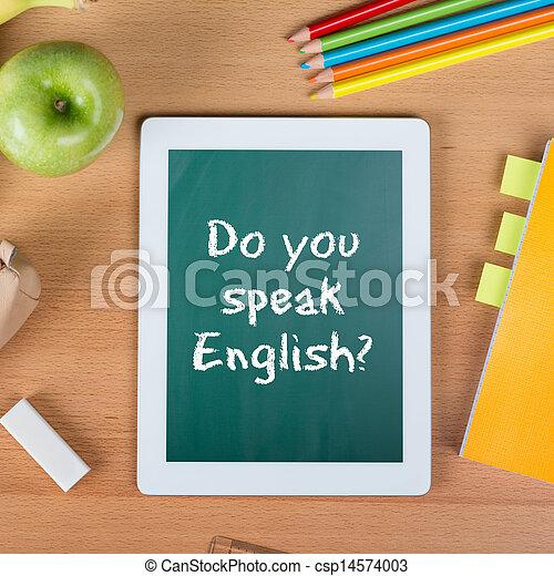 école, tablette, question, anglaise, vous, parler - csp14574003