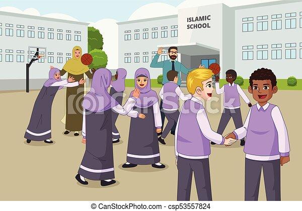 école, vacances, musulman, enfants, cour de récréation, pendant, jouer - csp53557824