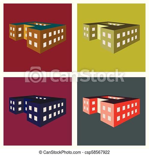 école, vecteur, illustration, bâtiment. - csp58567922