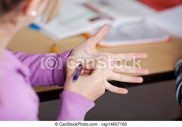écolière, écriture, tricherie, elle, main - csp14607160