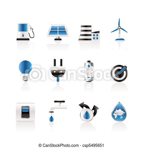 écologie, énergie, puissance, icônes - csp5495651